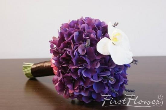 Buchet Mireasa Cu Hortensie Mov First Flower
