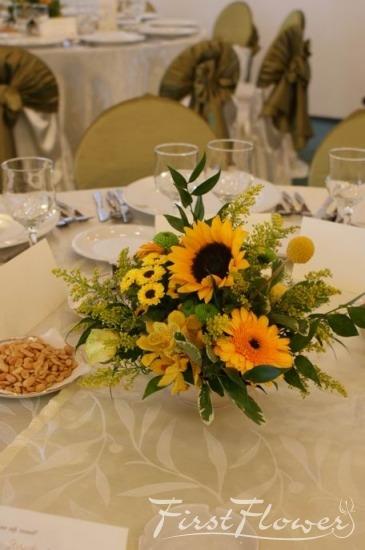 Aranjament Nunta Cu Floarea Soarelui Trandafiri Galbeni Si