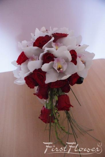 Buchet Mireasa Curgator Alb Si Rosu First Flower