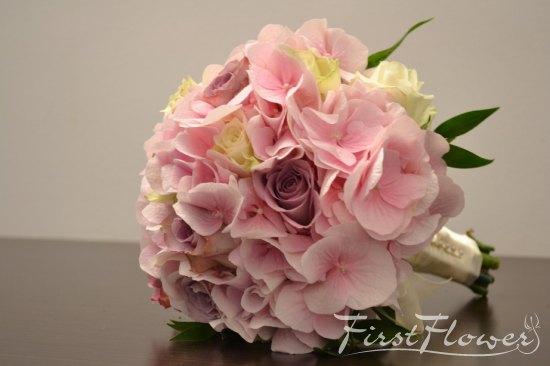 Buchet Mireasa Cu Hortensie Roz Pal Trandafiri Albi Si Lila First