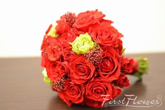 Mireasa Buchet Nunta Cu Trandafiri Rosii Trandafiri Verzi