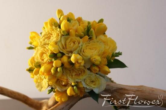 Buchet Mireasa Frezii Galbene Si Trandafiri Galbeni First Flower