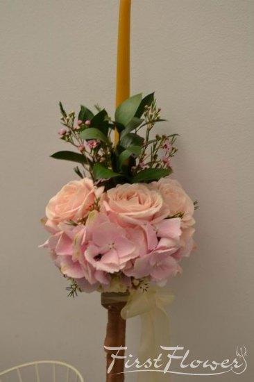 Lumanare Din Ceara Naturala Pentru Botez Cu Hortensie Roz Si