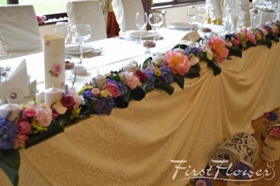 Decor prezidiu nunta restaurant phoenix cernica first flower