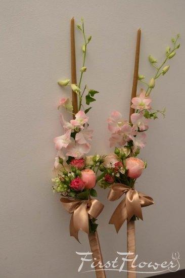 Lumanari De Nunta Din Ceara Naturala Cu Dendrobium Roz Pal Vuvuzela