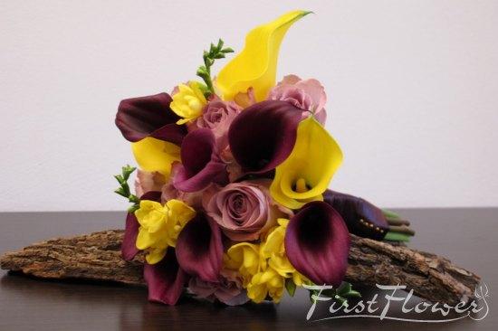 Buchet De Mireasa Cu Aer De Toamna Cale Mov Si Galbene First Flower
