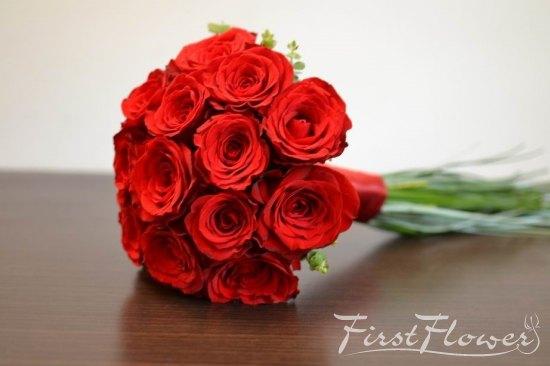 Buchet De Mireasa Rosu Cu Trandafiri Rosu Grena Si Beargrass