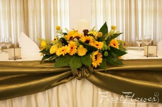 Aranjament Prezidiu Nunta Cu Floarea Soarelui First Flower