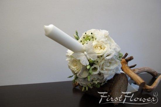 Lumanare Pentru Botez Alba Cu Flori Delicate First Flower