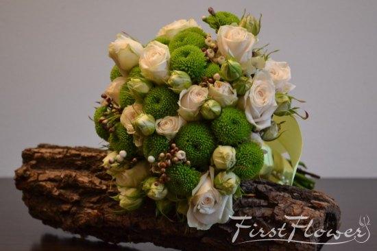 Buchet De Mireasa Cu Miniroze Ivoire Santini Verde Si Wax Flower