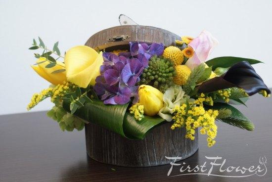 Aranjament Floral Pentru Botez In Cutie De Lemn Cu Flori Fresh