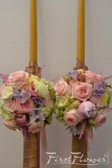 Lumanari Pentru Nunta Din Ceara Naturala Cu Flori Roz First Flower