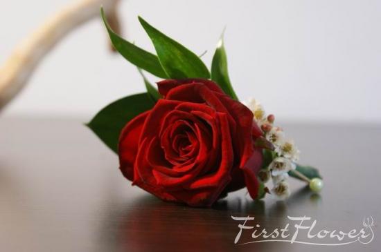 Flori De Pus In Piept Naturale Trandafir Rosu First Flower